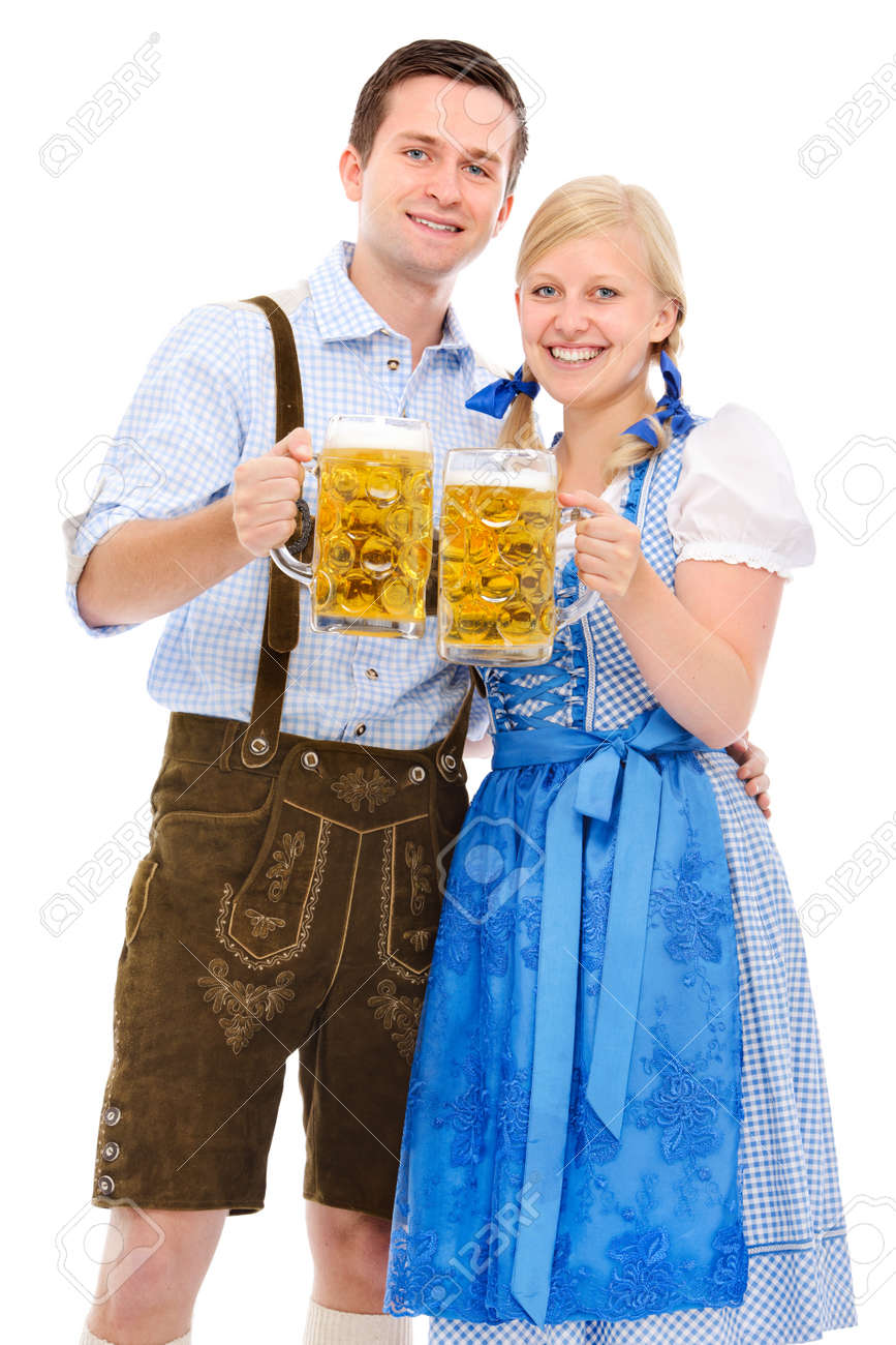 happy bavarian couple in dirndl with oktoberfest beer Stock Photo - 21400461