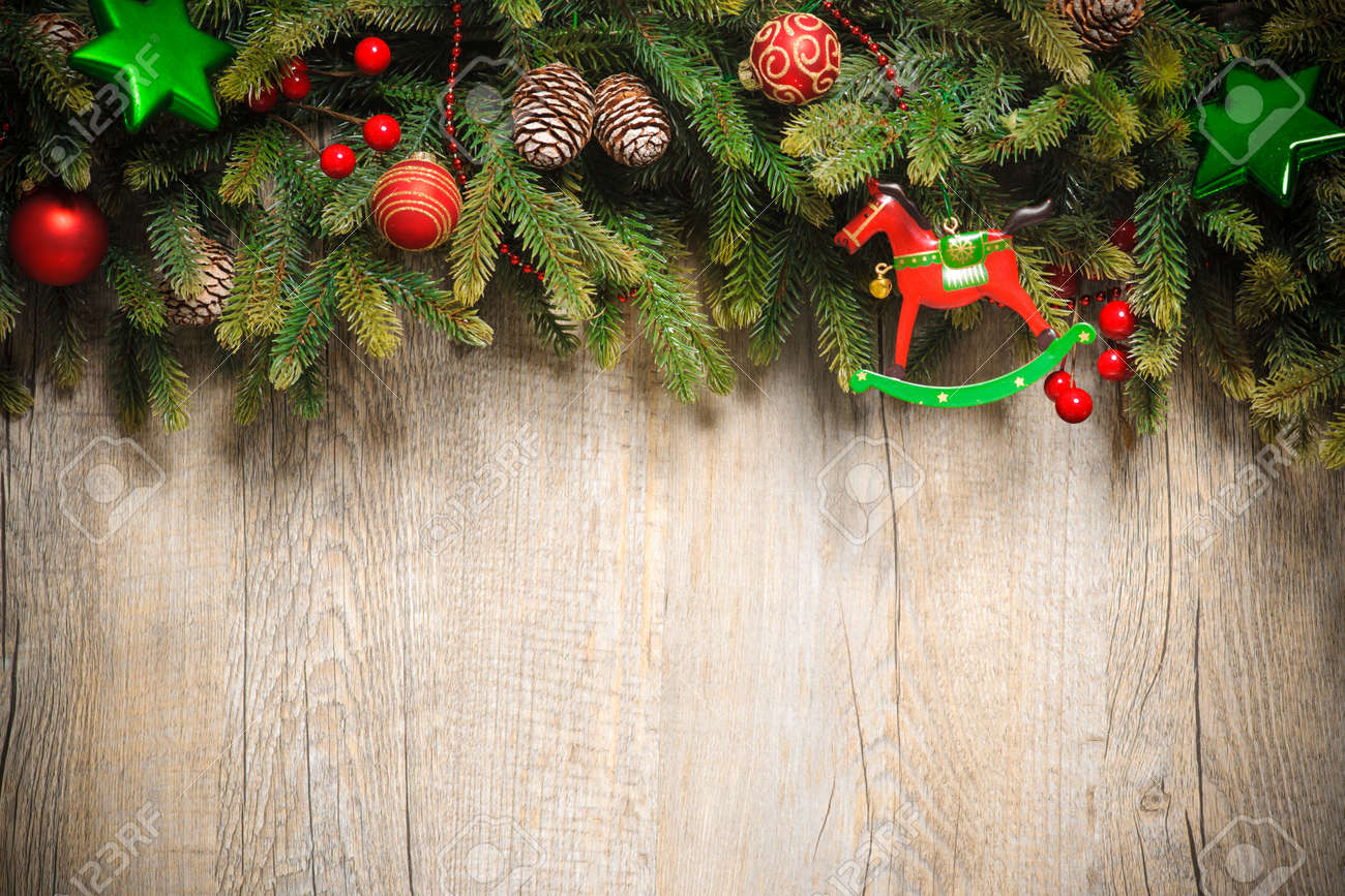 vintage christmas decoration over old wooden background Stock Photo - 21918578