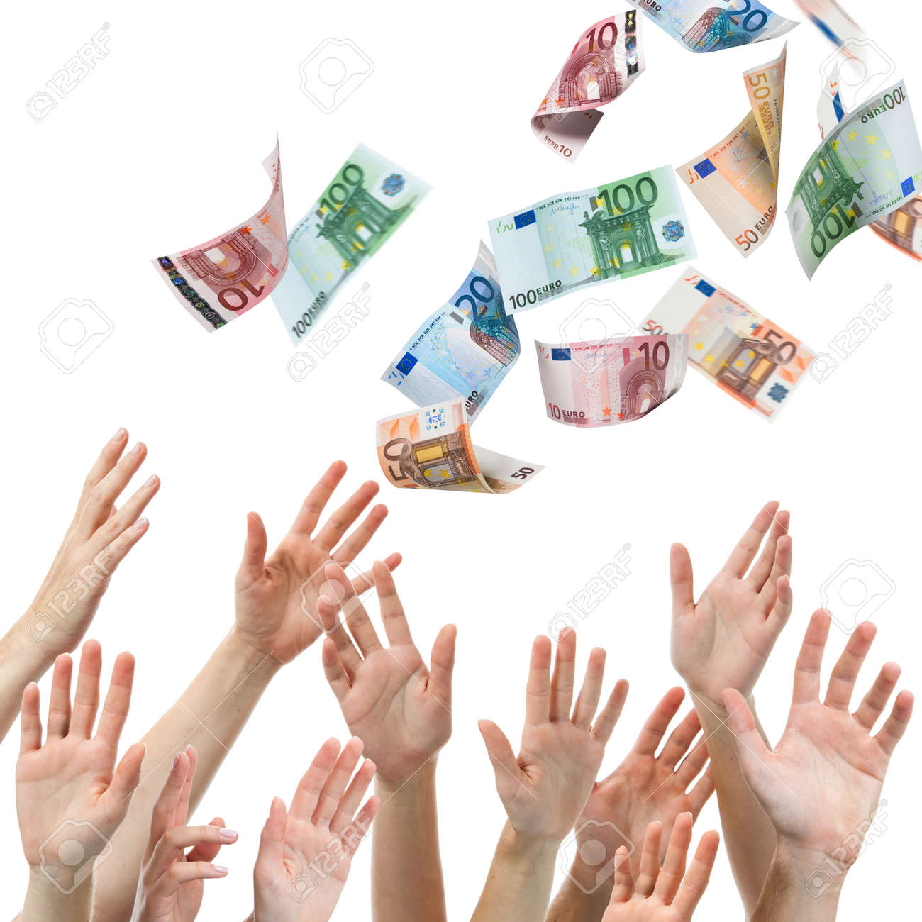 Hands reaching for Euro money flying in the air Stock Photo - 22223922
