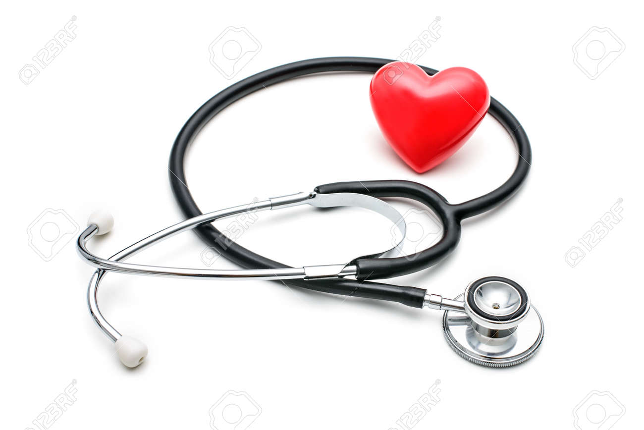 A  heart with a stethoscope  isolated on white background Stock Photo - 23579110