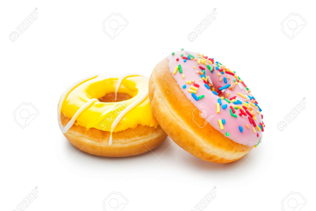 Two glazed donuts, isolated on white Stock Photo - 24959879