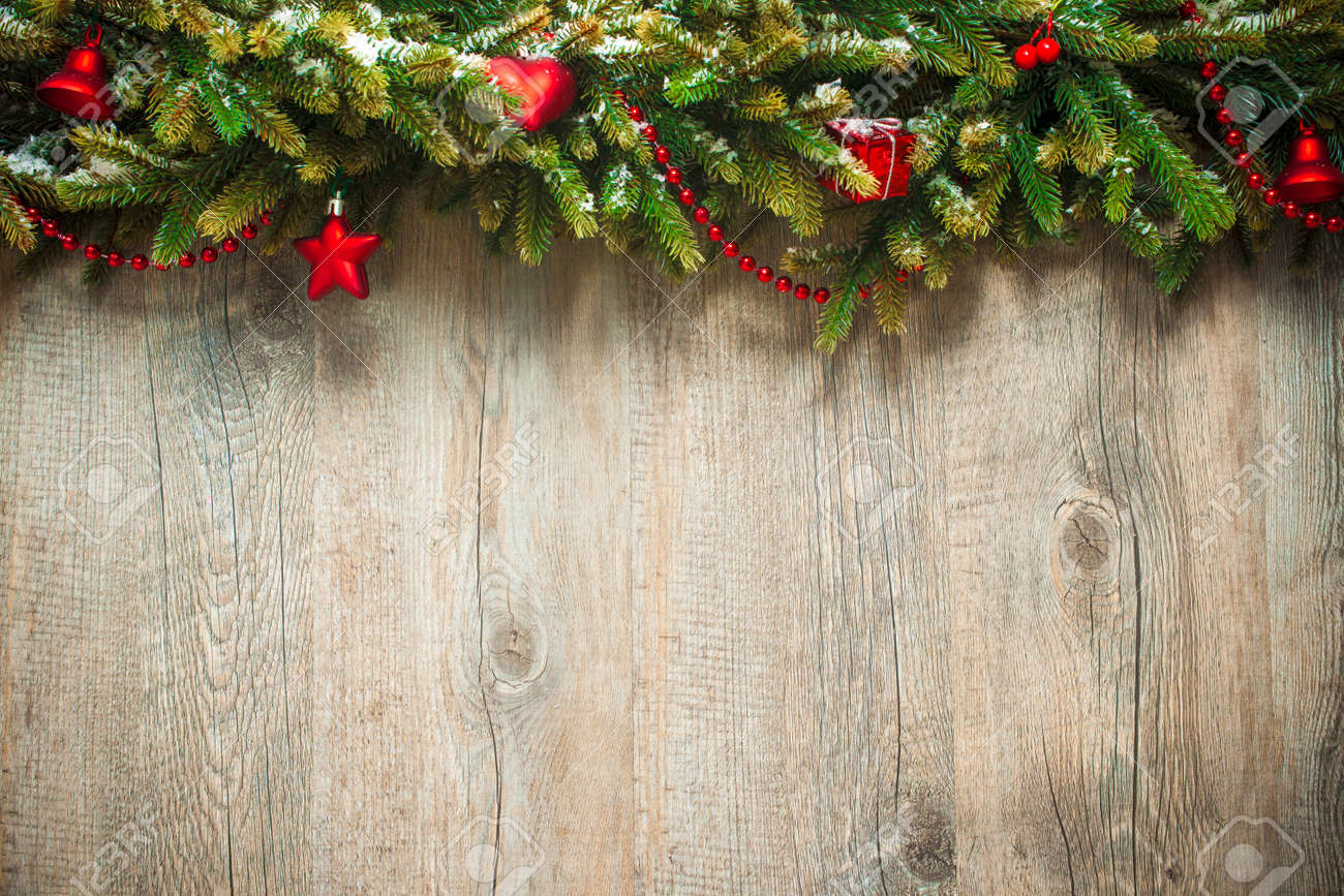 Christmas Wood Background.Vintage Christmas Decoration Over Old Wooden Background