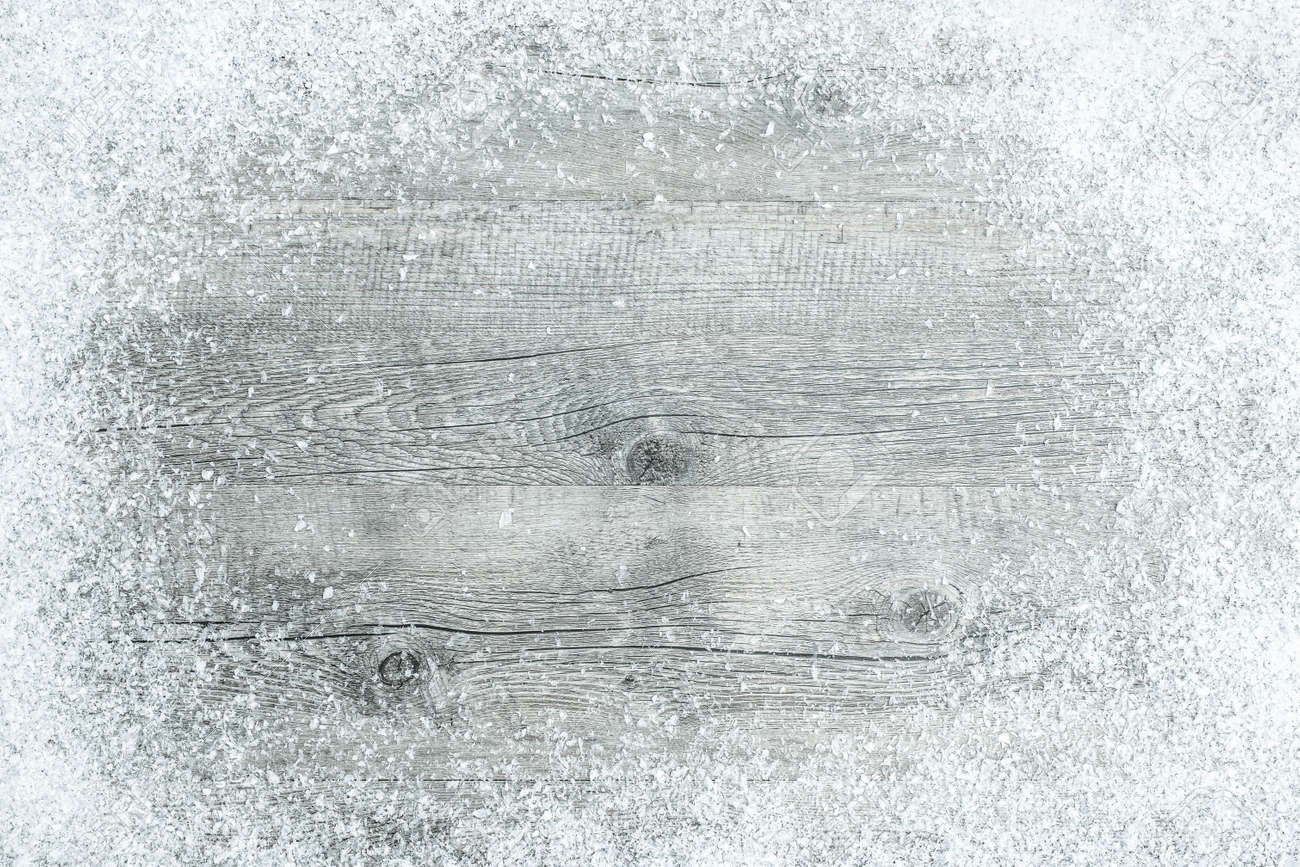 Old wooden boards as background - Old Wooden Board With Snow Flakes Christmas Background Stock Photo 32541649
