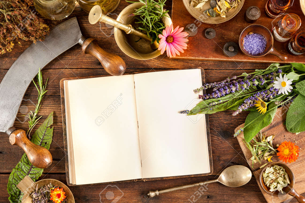The natural medicine, herbal, medicines and old book with copy