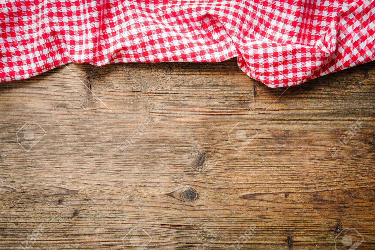 Red Checkered Tablecloth On Wooden Table Stock Photo   43283012