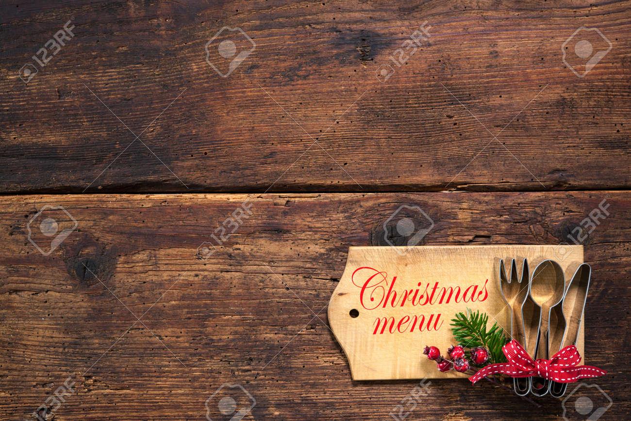 Carte De Menu Pour Noel.Noel Carte De Menu Pour Restaurants Sur Fond De Bois