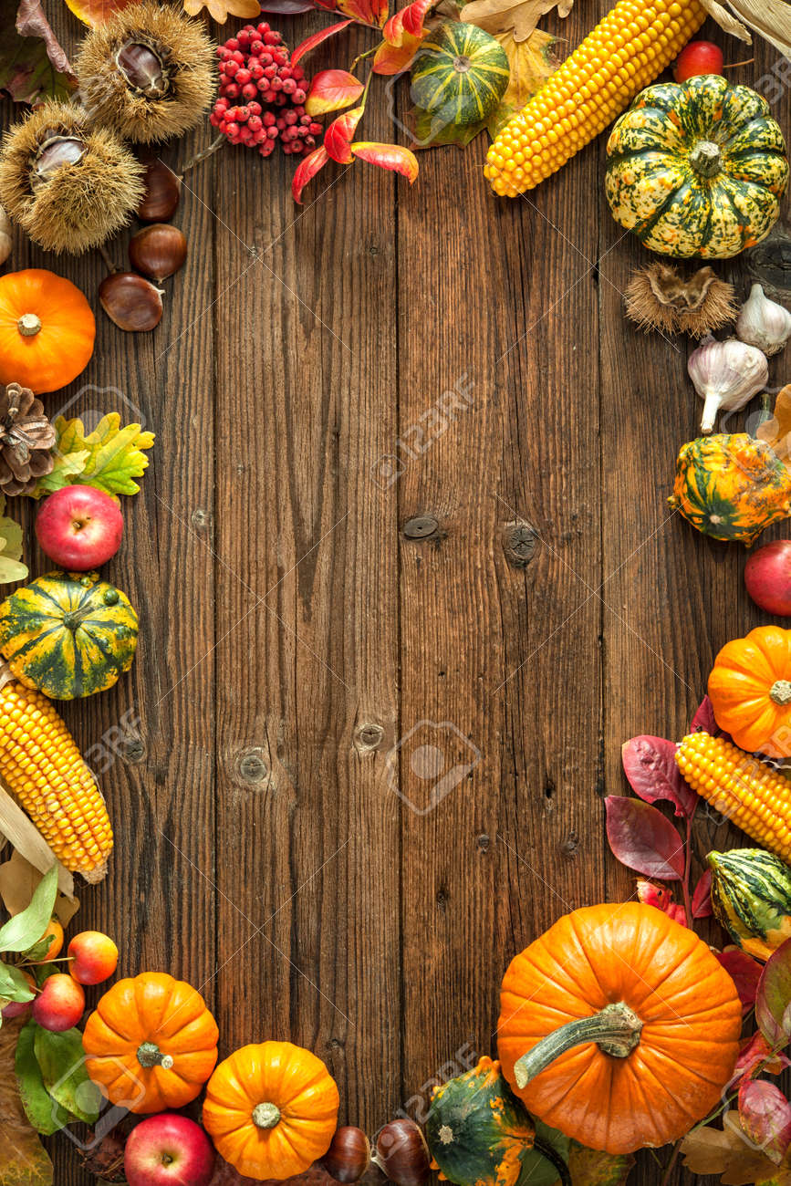 Harvest or Thanksgiving background with autumnal fruits and gourds on a rustic wooden table Stock Photo - 47115027