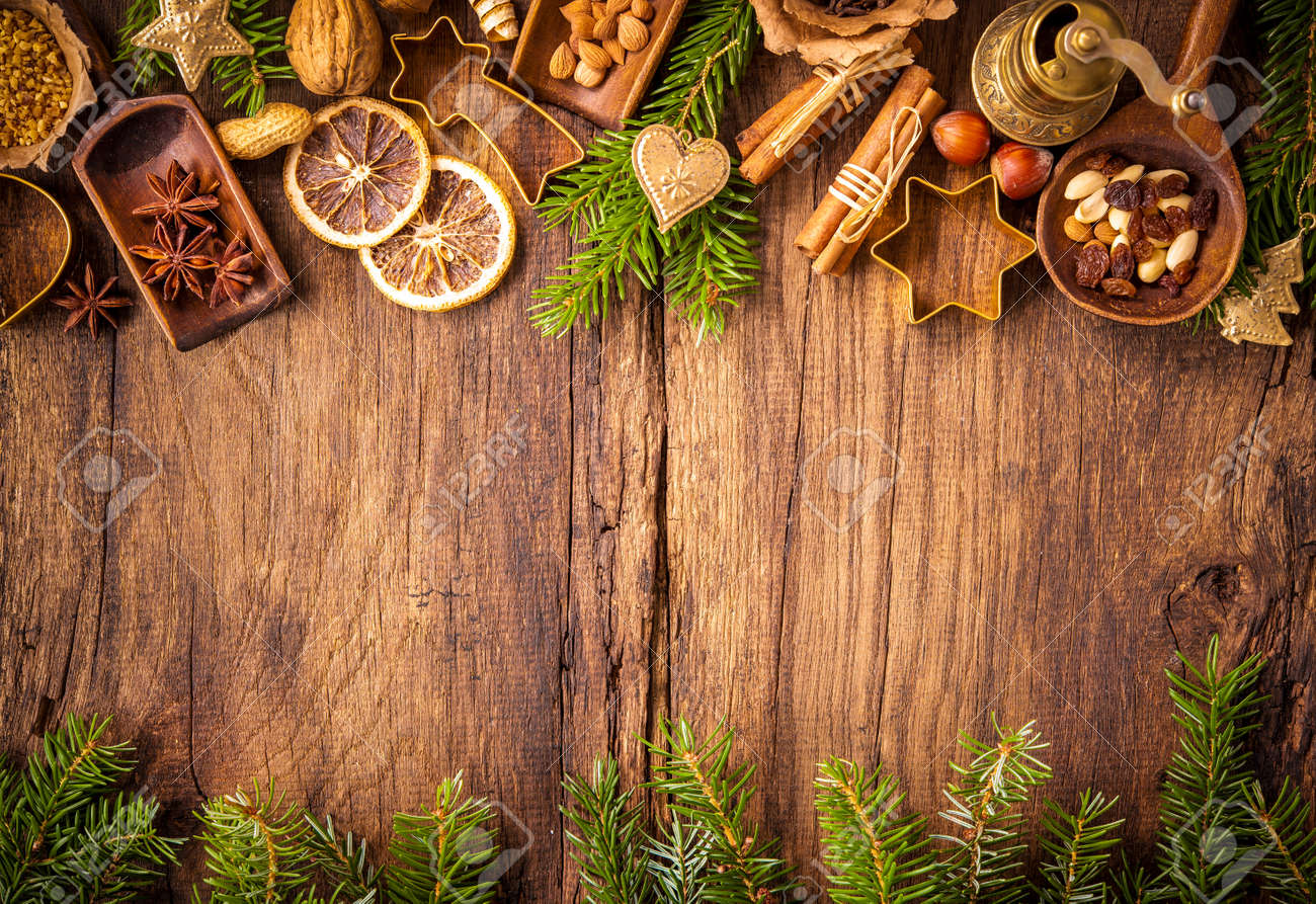 Baking concept background with spices and utensils for Christmas cookies Stock Photo - 47931697