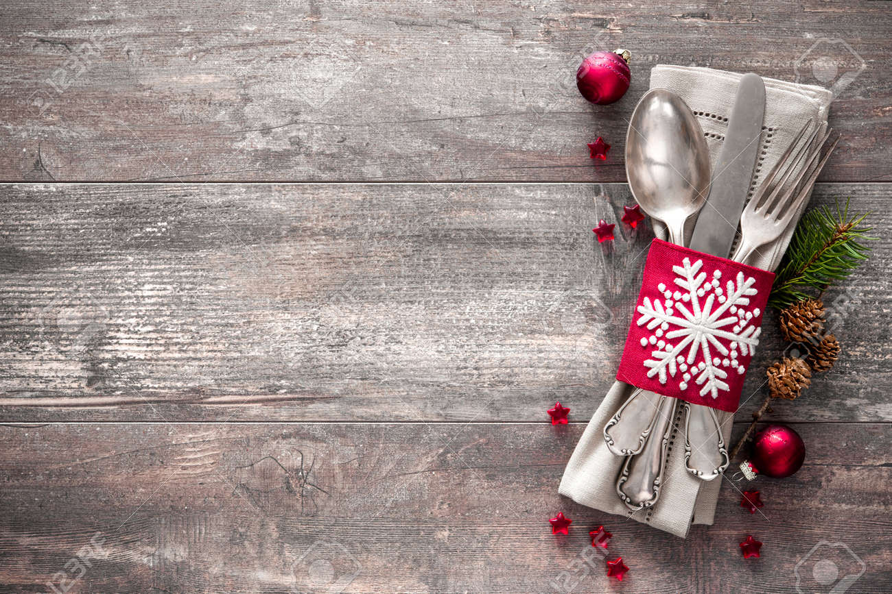 Christmas table place setting. Holidays background Stock Photo - 48315005