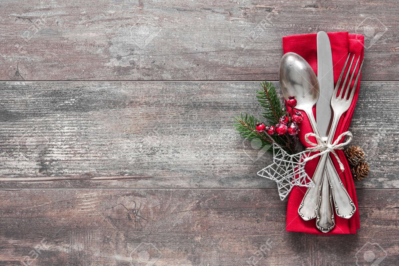 Christmas table place setting. Holidays background Stock Photo - 48315002