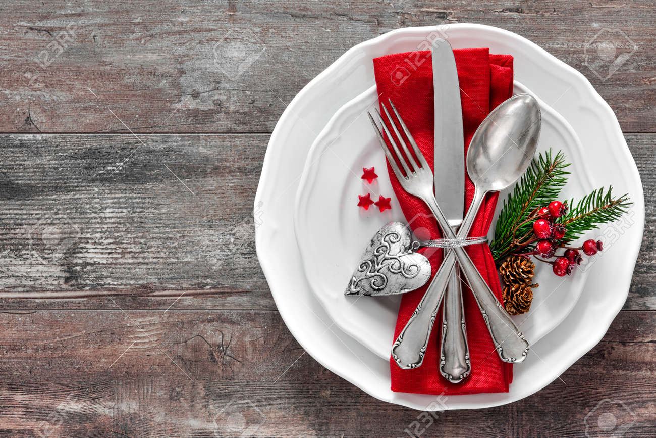 Christmas Table Place Setting. Holidays Background Stock Photo   48315082