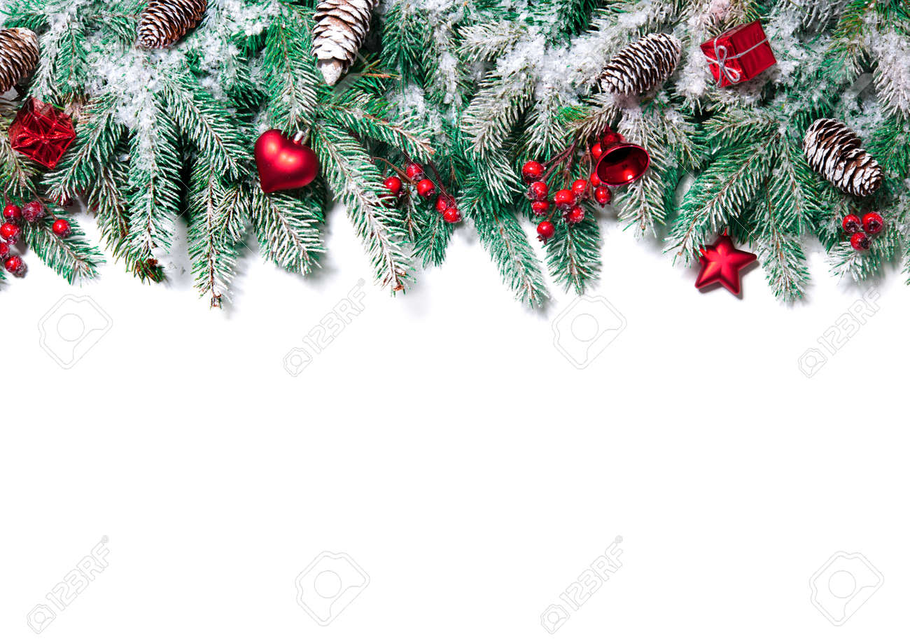Christmas Border. Tree branches with baubles, stars, snowflakes isolated on white Stock Photo - 48523961