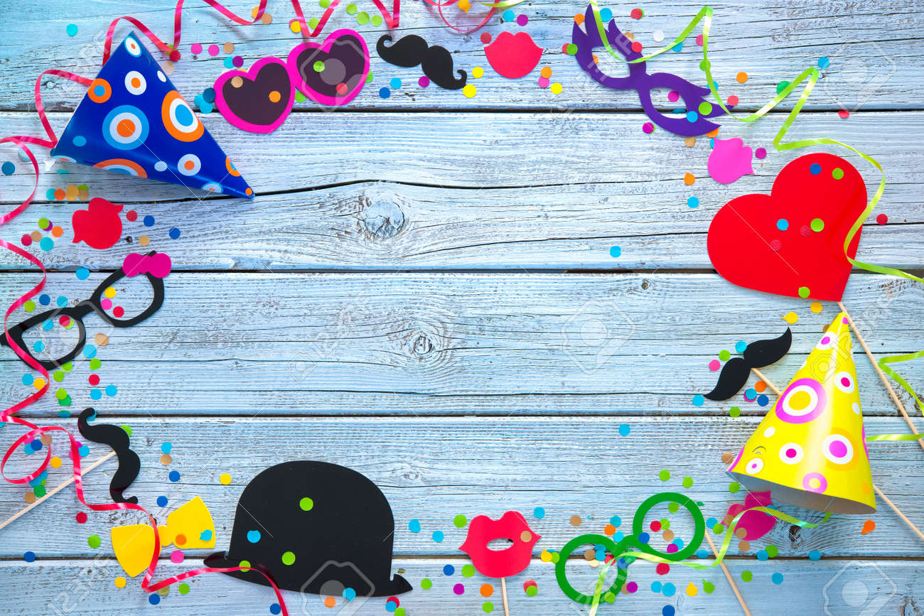 Colorful background with carnival props, streamers and confetti Stock Photo - 50773367