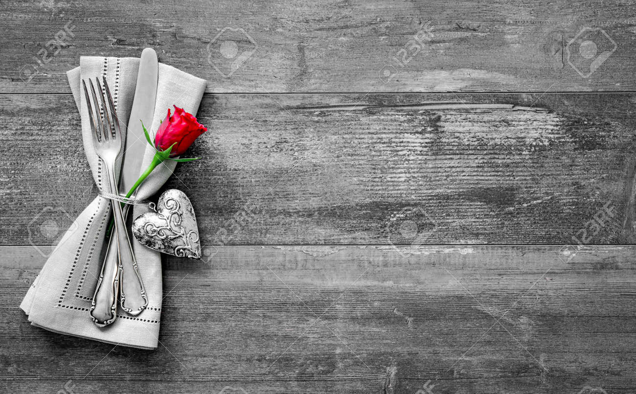 Valentines day table place setting. Holidays background Stock Photo - 50773392