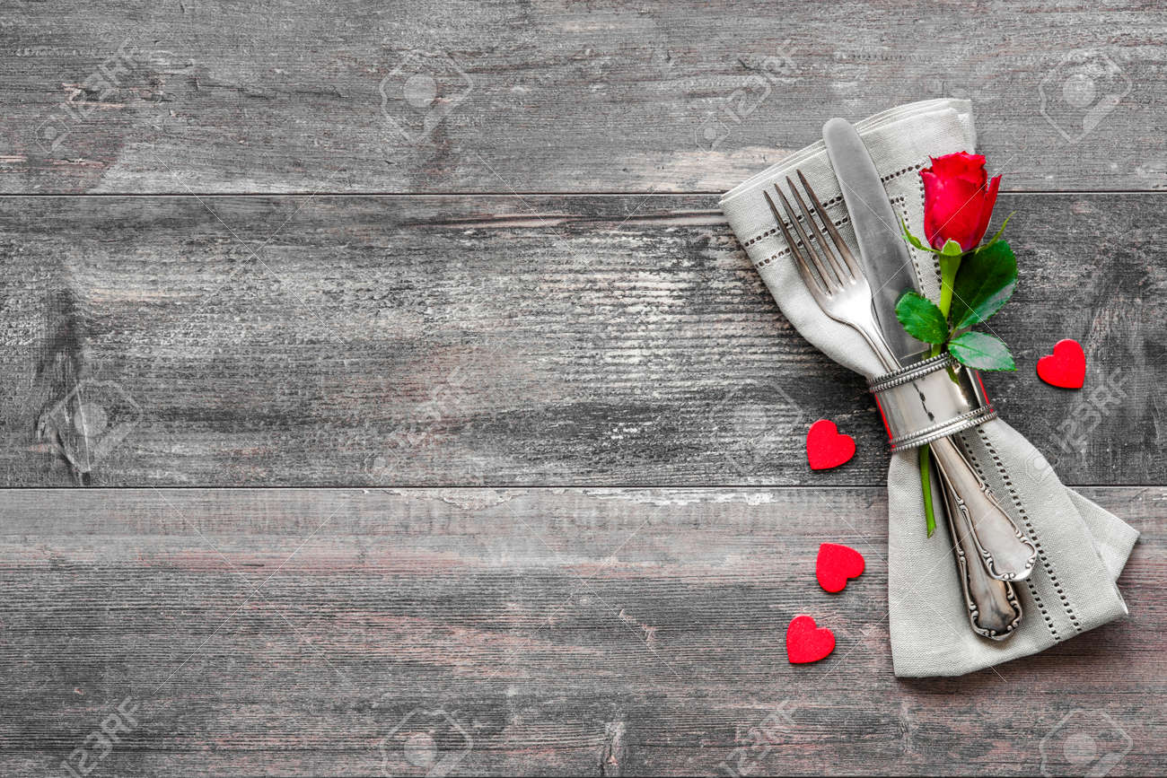 Valentines day table place setting. Holidays background Stock Photo - 50773398