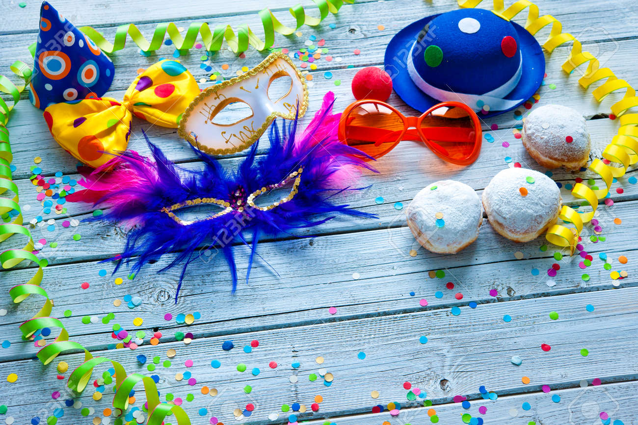 Colorful carnival background with party accessory, streamers and confetti Stock Photo - 50773405