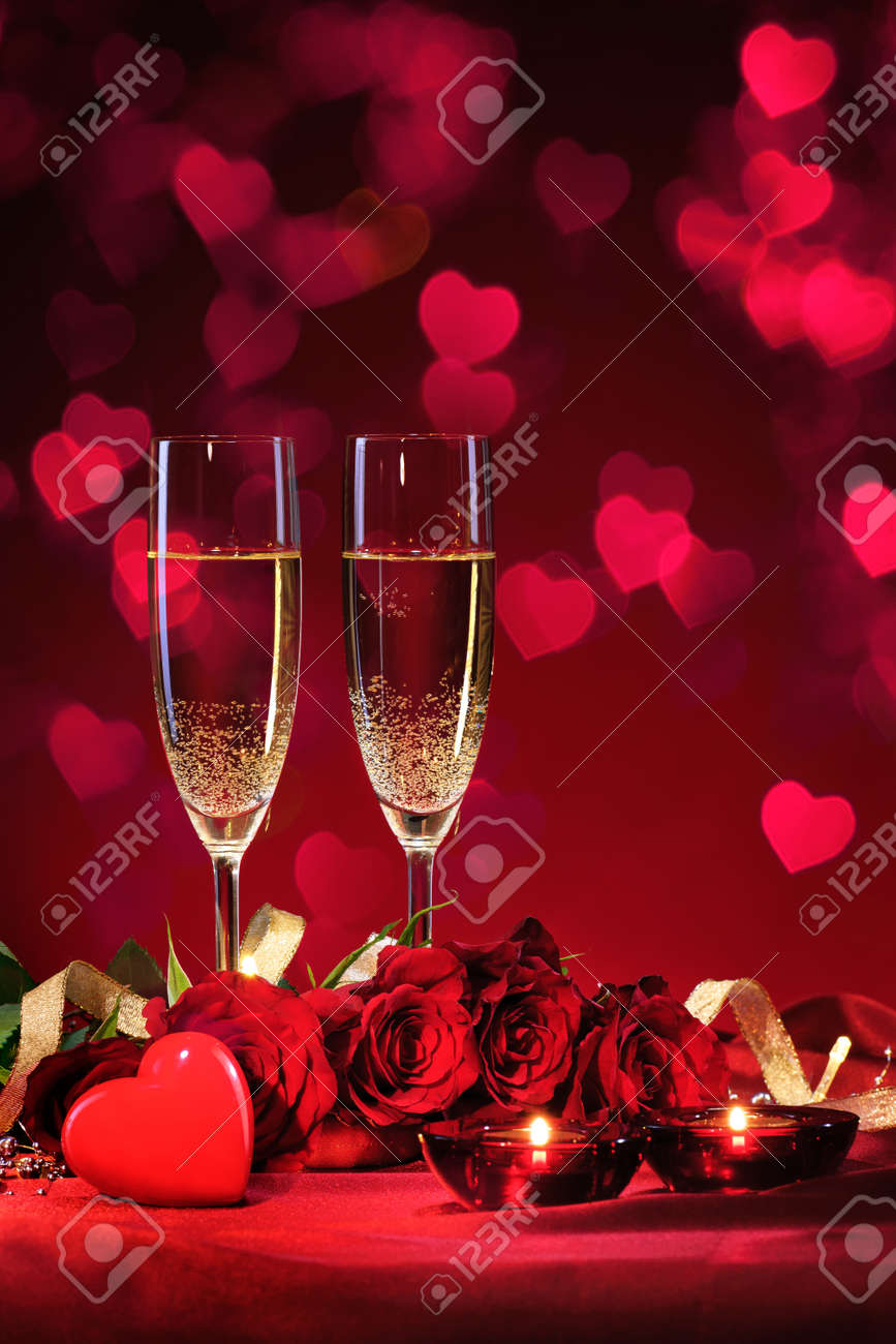 Valentines day background with champagne and roses Stock Photo - 50773427