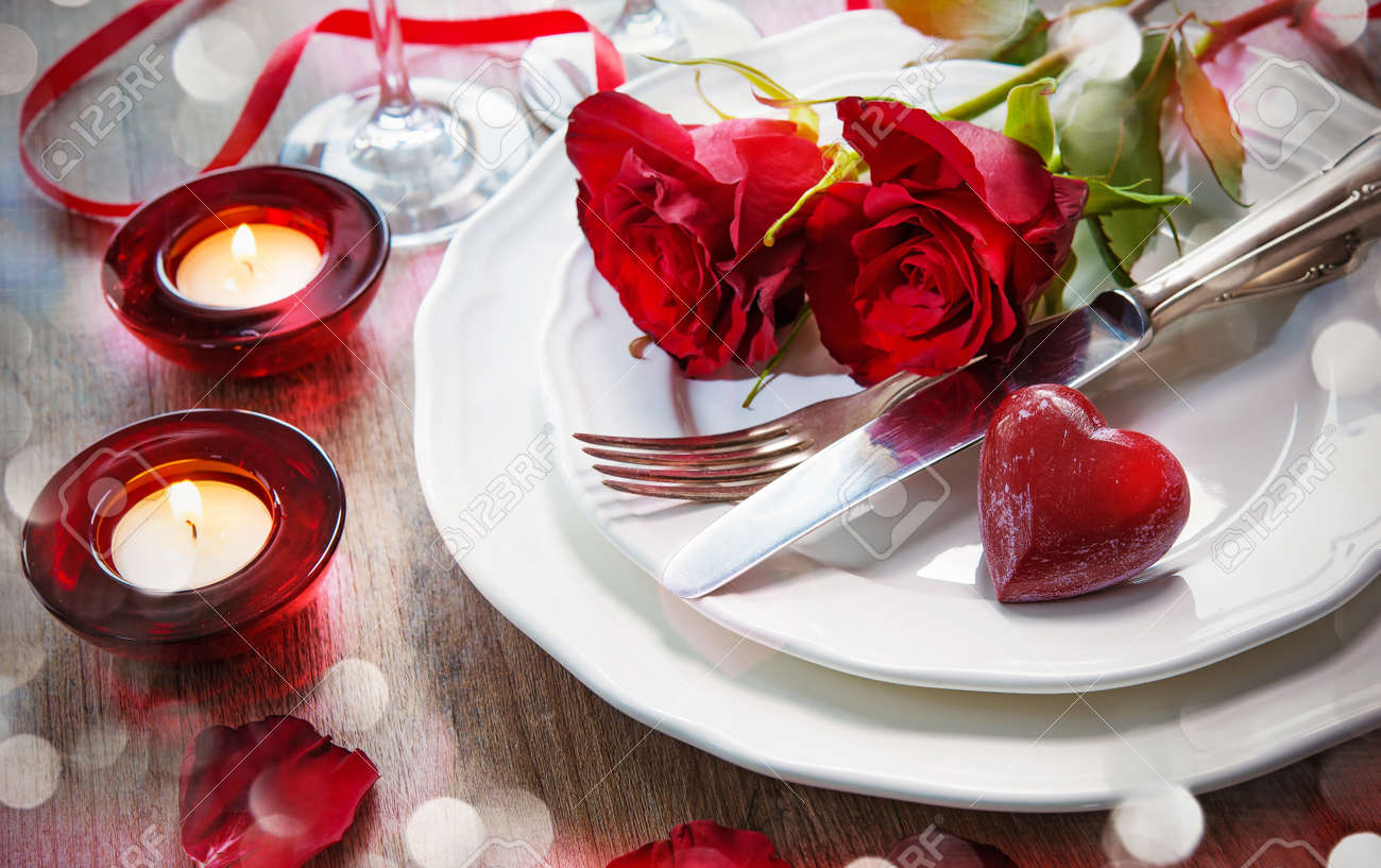 Festive place setting for Valentines day Stock Photo - 50773443