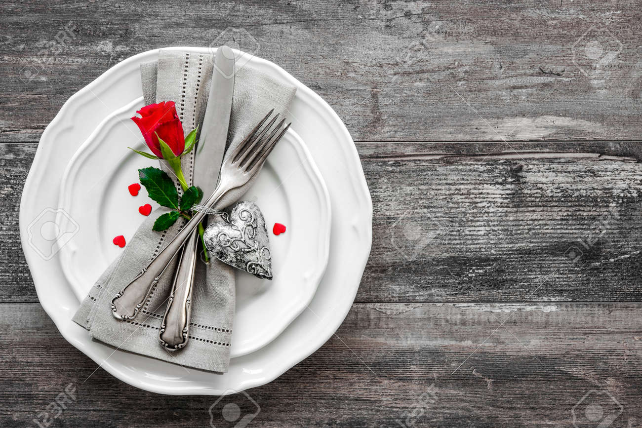 Valentines day table place setting. Holidays background Stock Photo - 50773444
