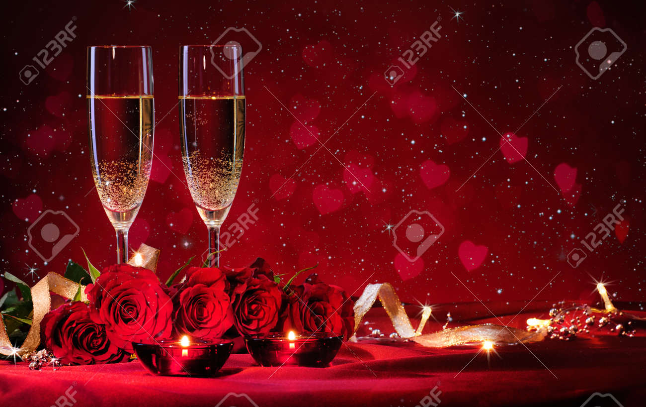 Valentines day background with champagne and roses - 50773456