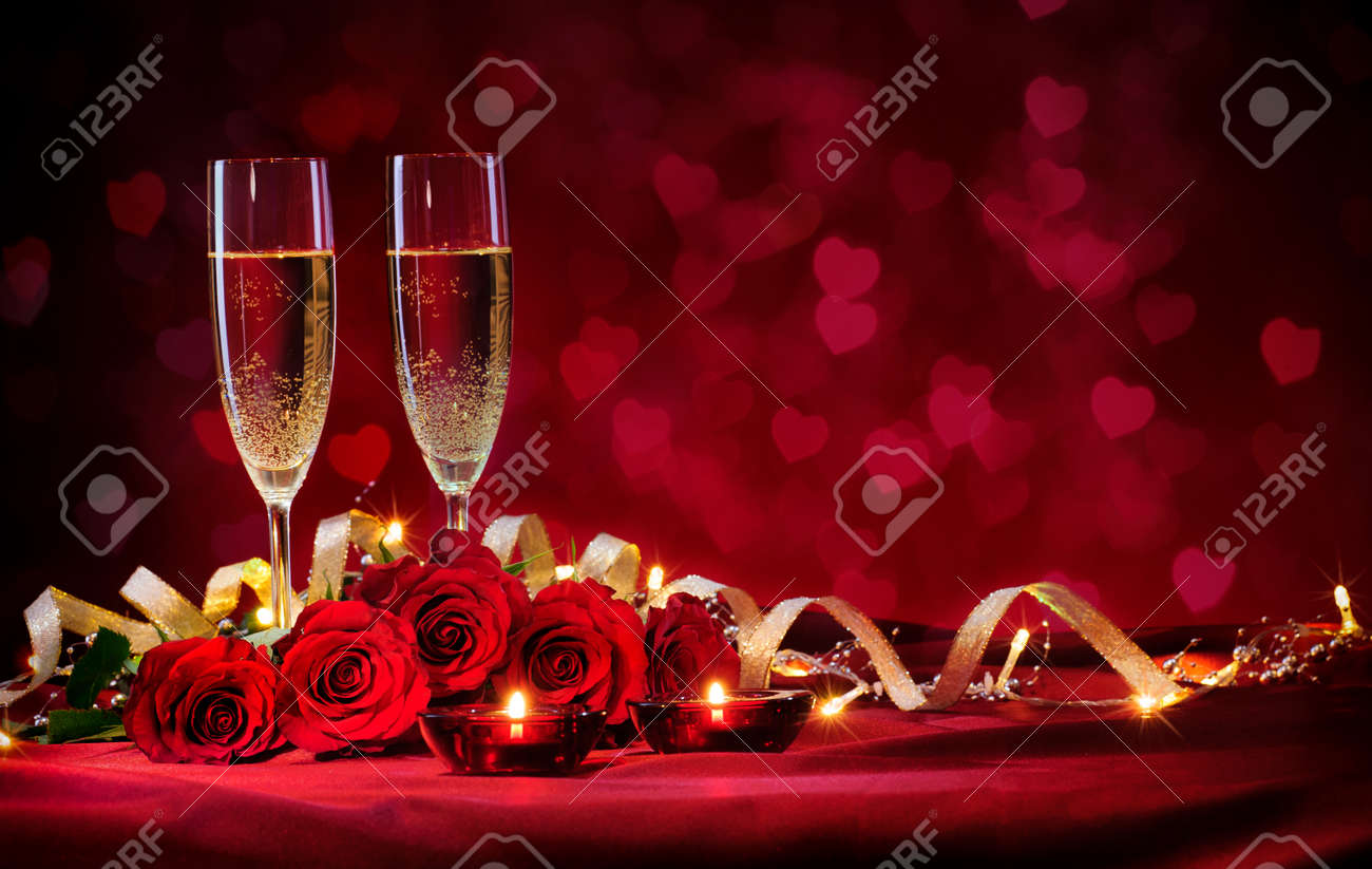 Valentines day background with champagne and roses Stock Photo - 50773472