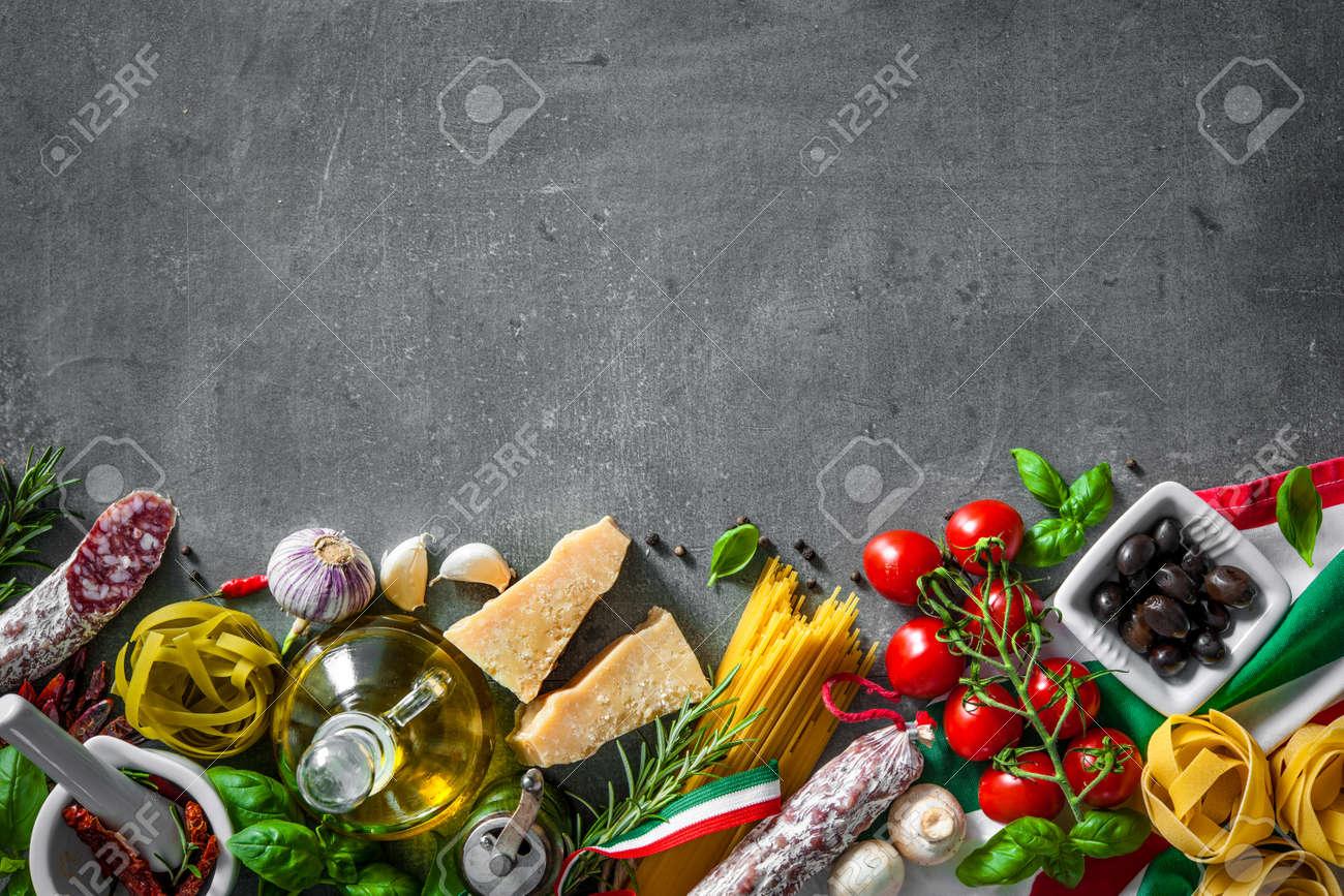 Italian food ingredients on slate background - 56266797