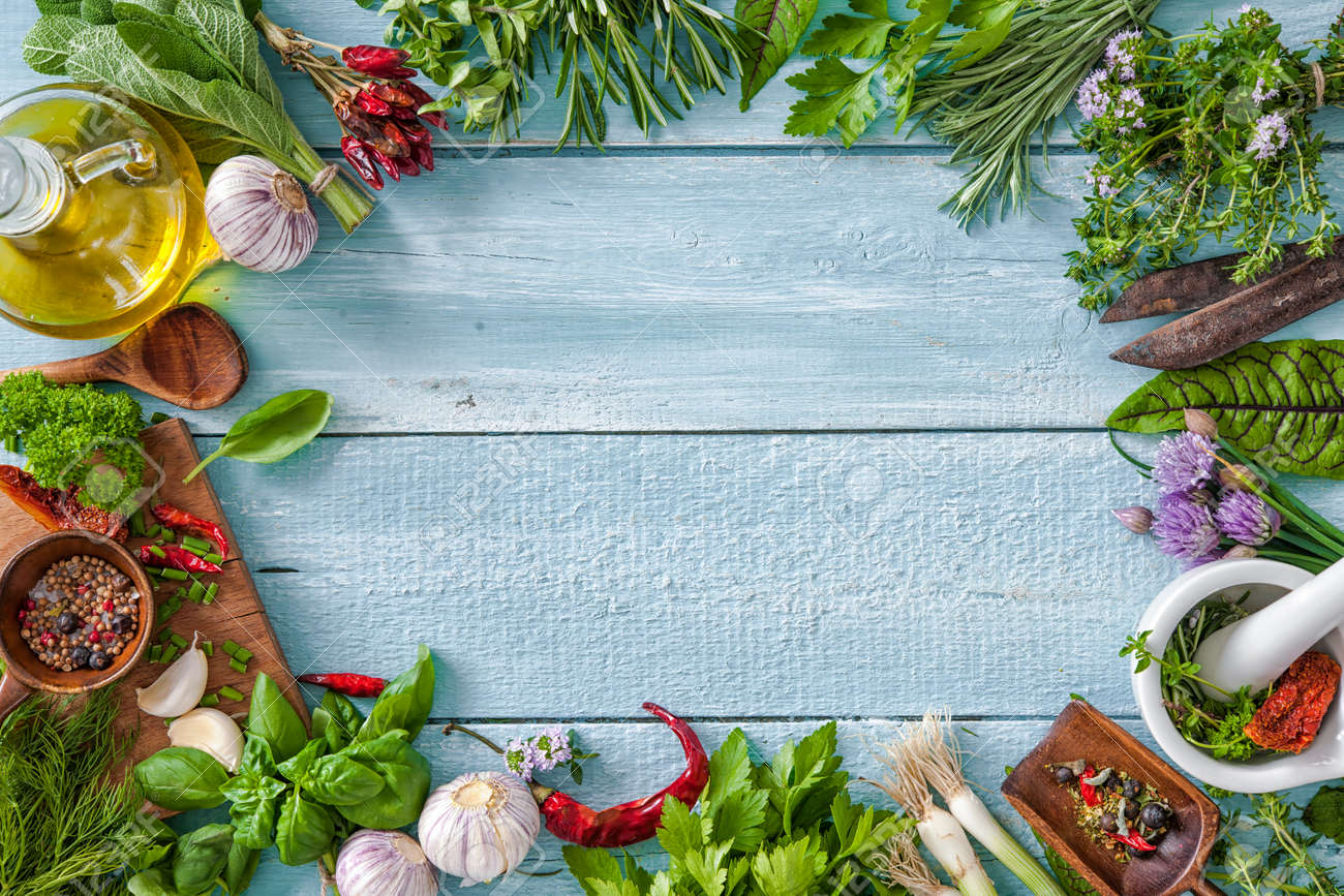 Fresh Kitchen Herbs And Spices On Wooden Table. Top View Stock Photo ...