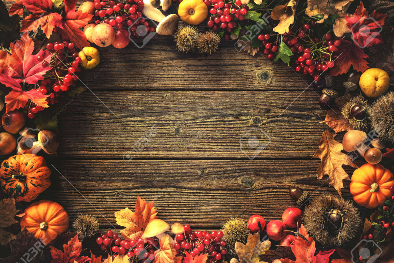 Vintage Autumn Border From Fallen Leaves And Fruits On The Old
