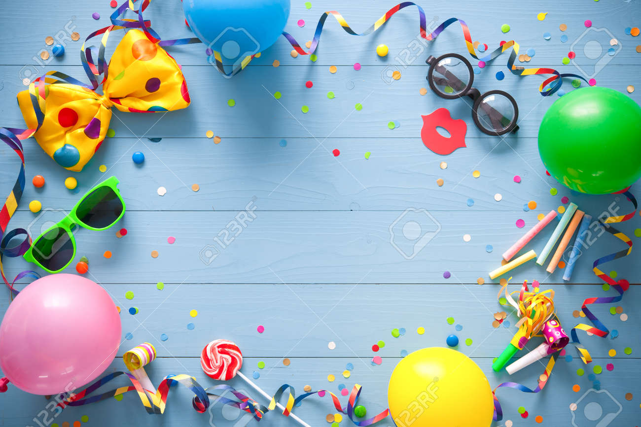 Colorful Birthday Frame With Party Items On Blue Background Stock