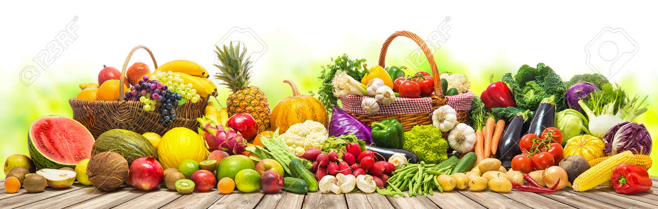 Fresh Vegetables And Fruits Background Stock Photo