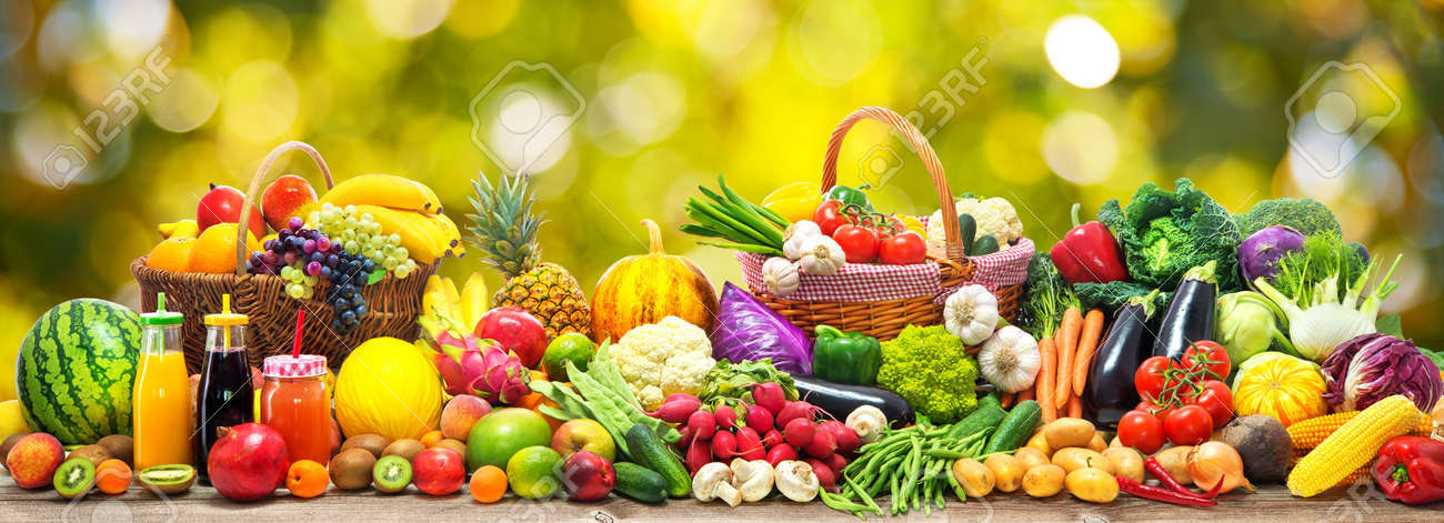 Fresh vegetables and fruits background - 81386570