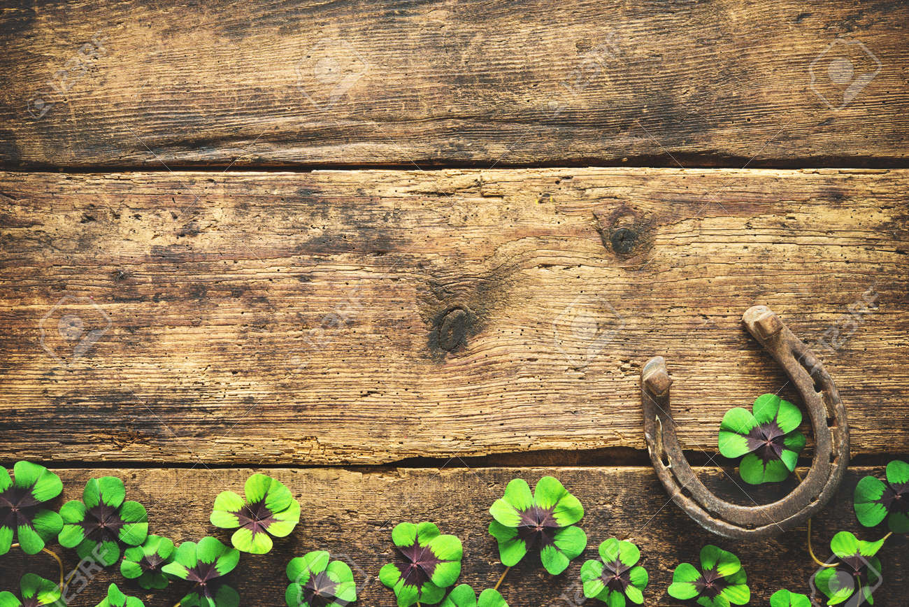 St. Patrick's day, lucky charms. Horseshoe and shamrock on wooden background - 82626323