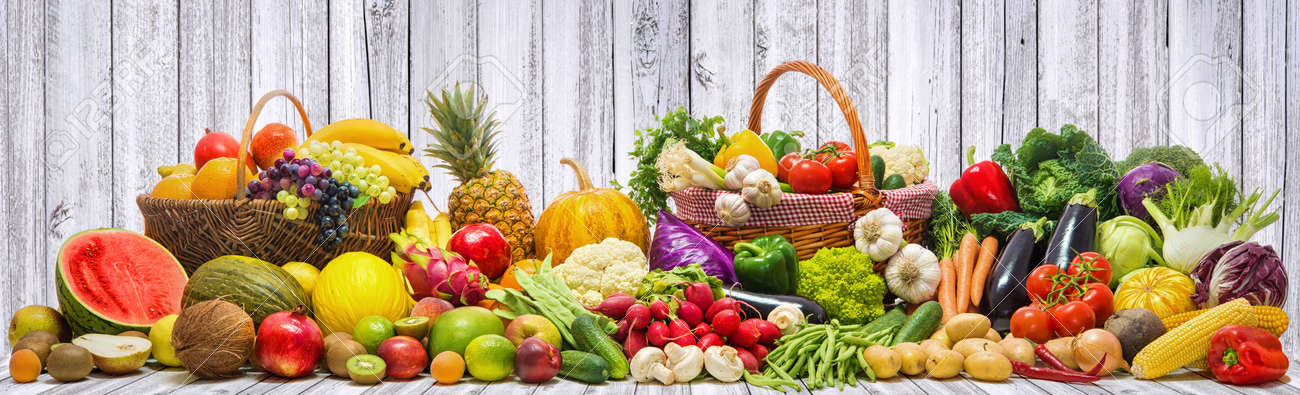 Fresh vegetables and fruits background - 82626468