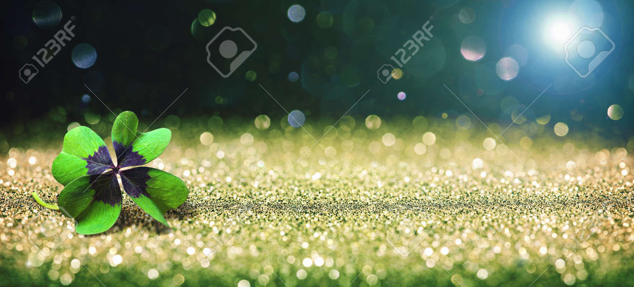 Abstract background with four leaf lucky clover - 83368624