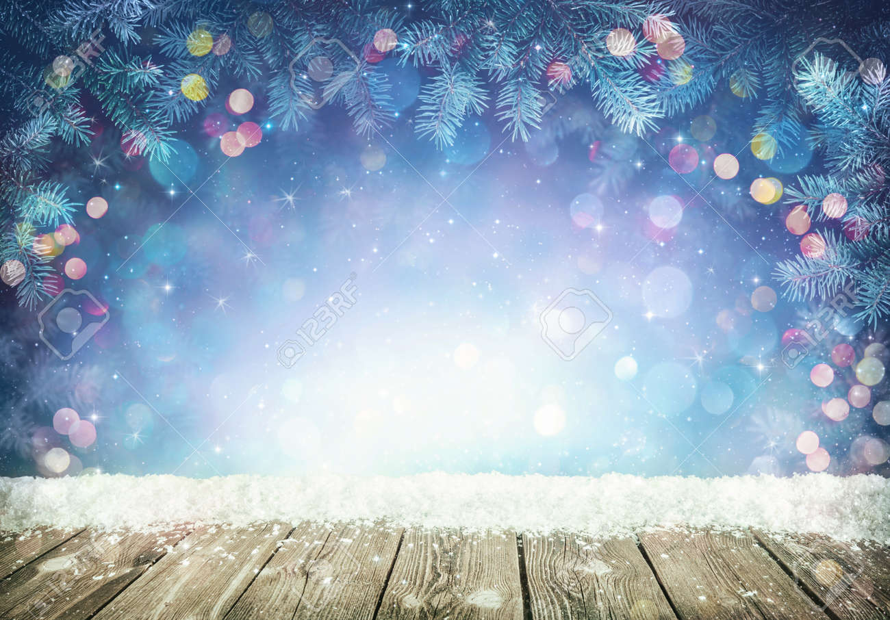 Winter background with frost fir branches and rustic wooden planks - 88838381