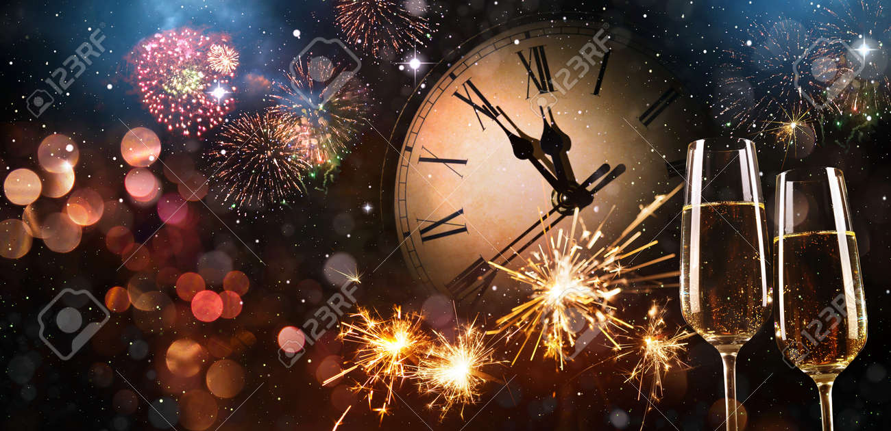 New Years Eve celebration background. Toast with fireworks and champagne at midnight - 91975251