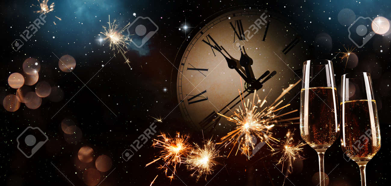 New Years Eve celebration background. Toast with fireworks and champagne at midnight - 91975254