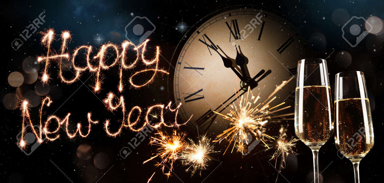 New Years Eve celebration background. Toast with fireworks and champagne at midnight - 91975255
