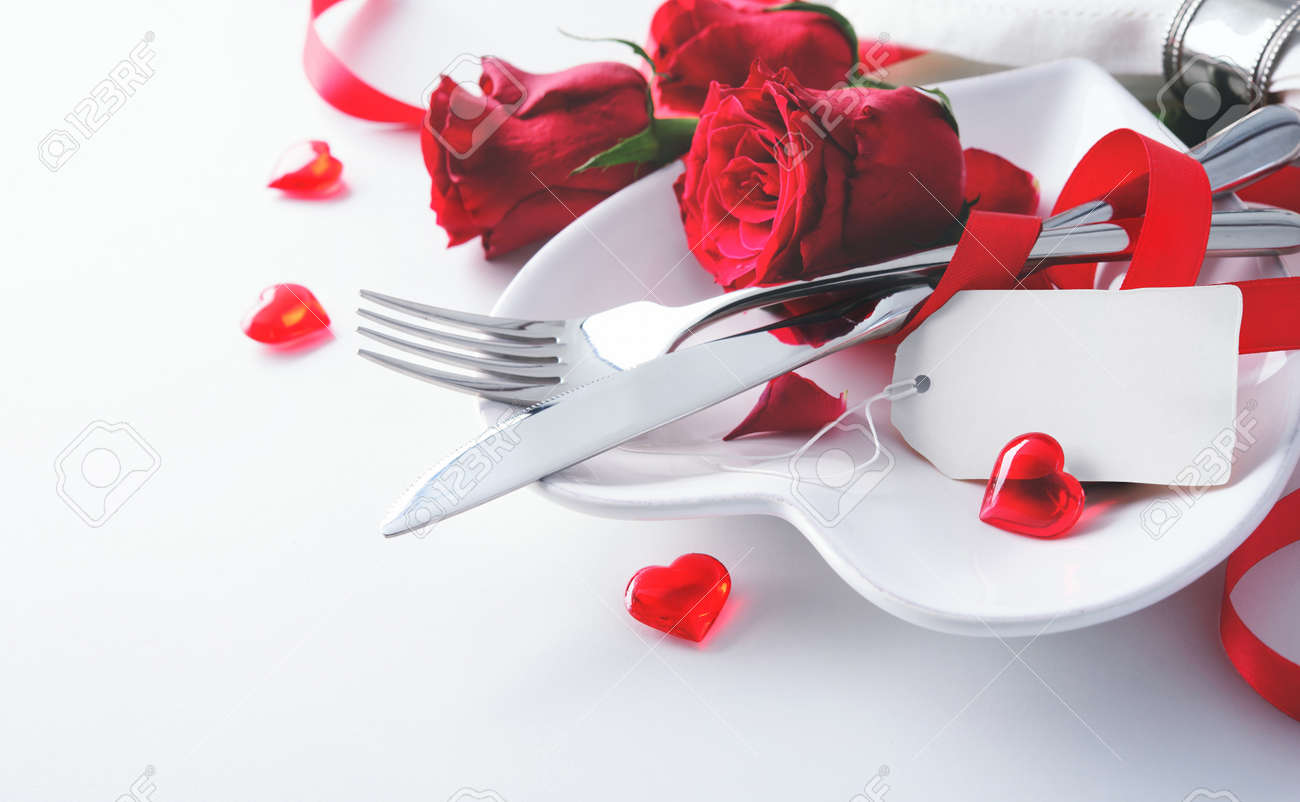 Romantic Table Setting On White Table. Valentine\'s Day Card Template ...