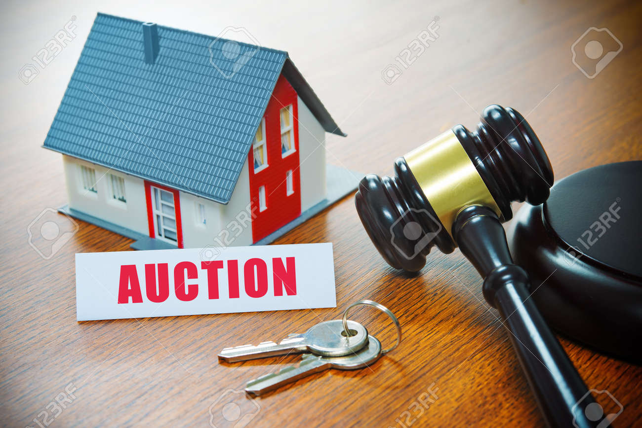 House with a Gavel. Foreclosure, real estate, sale, auction, business, buying concept - 95284408