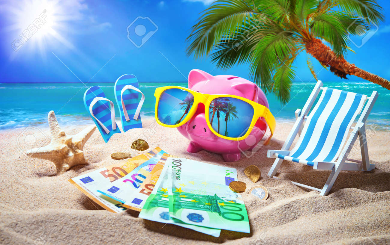 Piggy bank with sunglasses relax on the beach holiday. Travel money savings concept, summer vacation - 103335254
