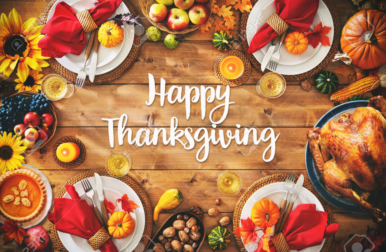 Thanksgiving celebration traditional dinner setting meal concept with Happy Thanksgiving text - 108473326