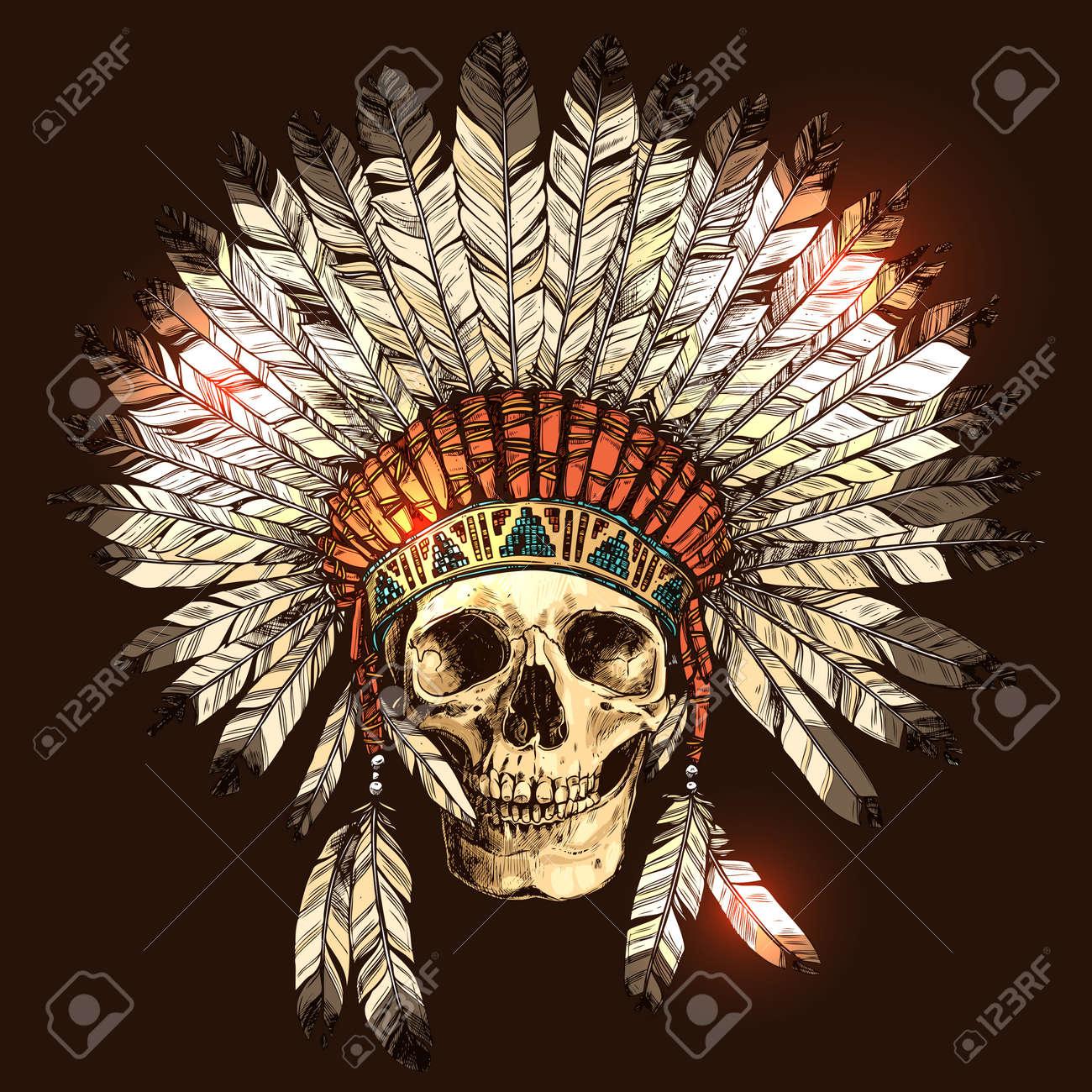 Dibujado mano indio del nativo americano tocado con el cráneo humano.  Vector ilustración en color 97cd099aee0
