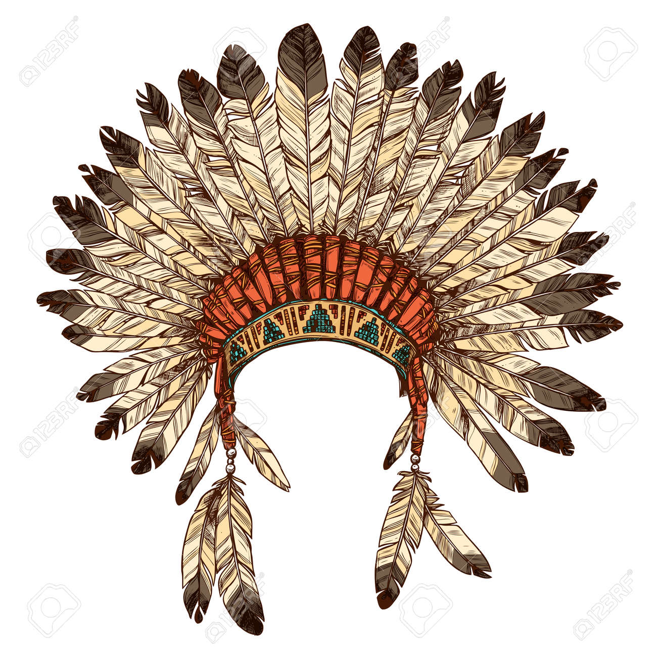 Hand Drawn Native American Indian Headdress Vector Color Illustration Royalty Free Cliparts Vectors And Stock Illustration Image 62122288