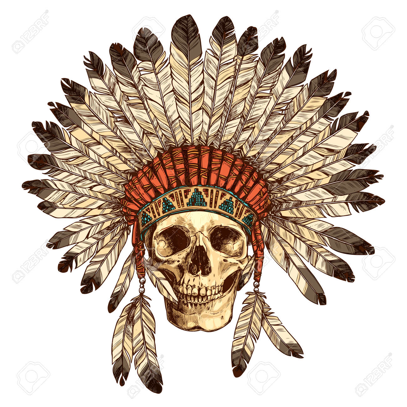 Hand Drawn Native American Indian Coiffe Avec Crâne humain  Vector Couleur  Illustration Of Tribal Indian Chief Hat Feather et crâne