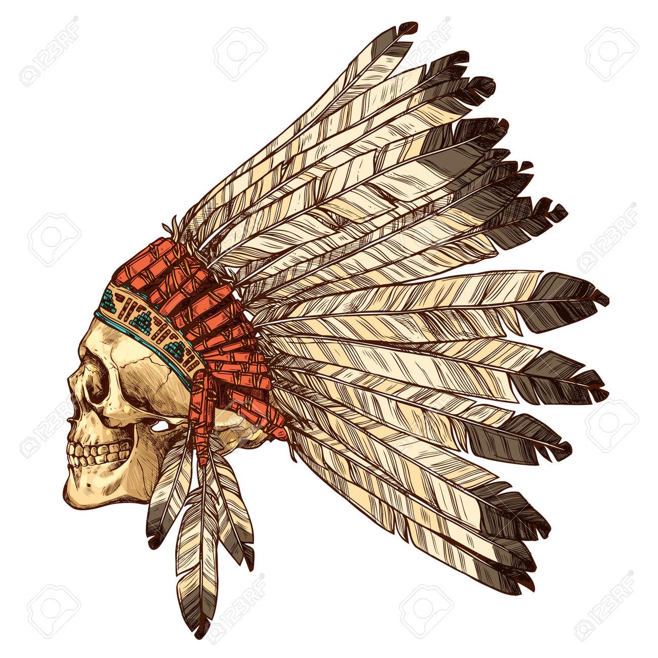 Dibujado mano indio del nativo americano tocado con el cráneo humano en  perfil. Vector ilustración 30d257dd9f7