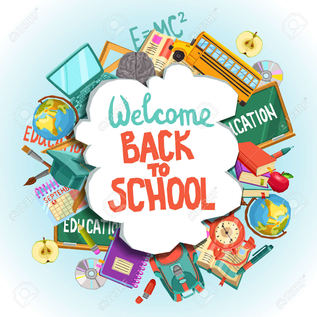 welcome back to school poster royalty free cliparts, vectors, and