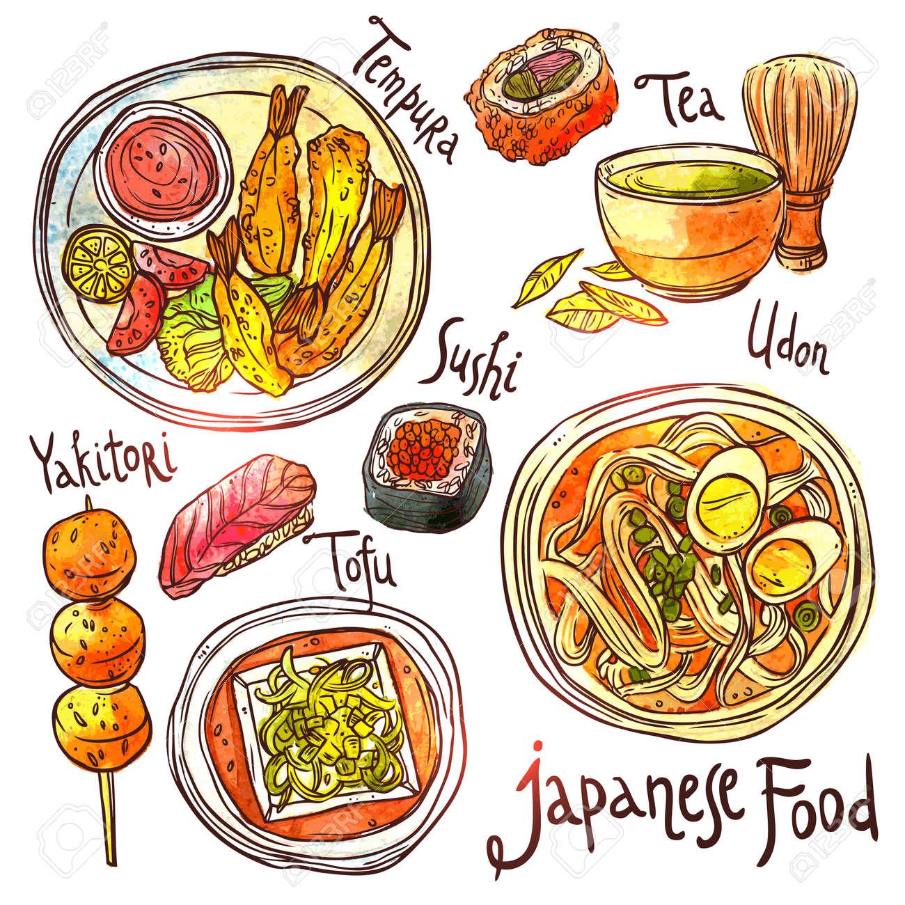 Cuisine Illustration asian food, hand drawn watercolor illustration. japanese food