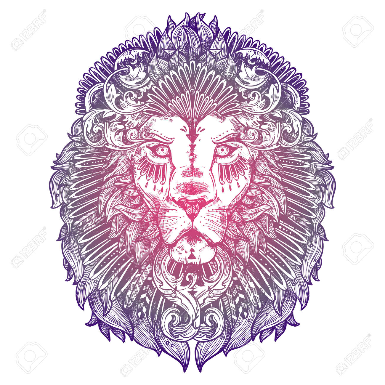 Ornamental Lilac Tattoo Lion Head Highly Detailed Abstract Hand