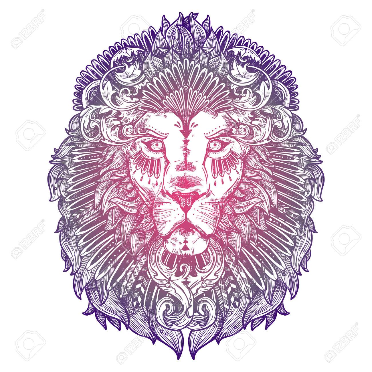 Tete De Lion De Tatouage Lilas Ornemental Style Dessine A La Main Tres Detaille Abstrait